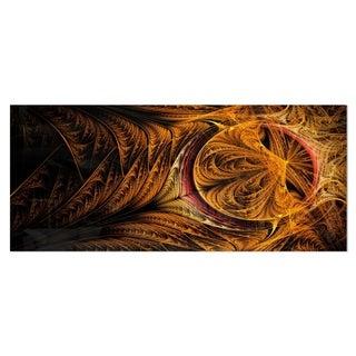 Designart 'Golden Fractal Desktop Wallpaper' Abstract Digital Metal Wall Art