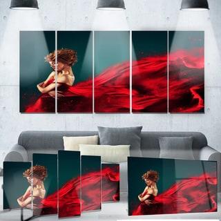 Designart 'Woman in Flying Red Dress' Portrait Digital Art Metal Wall Art