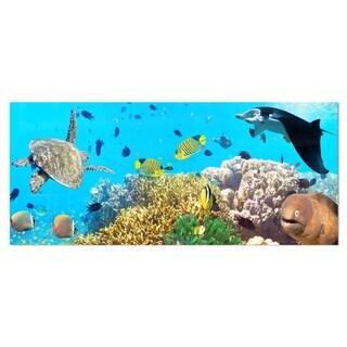 Designart 'Underwater Panorama with Sea Creatures' Photo Metal Wall Art