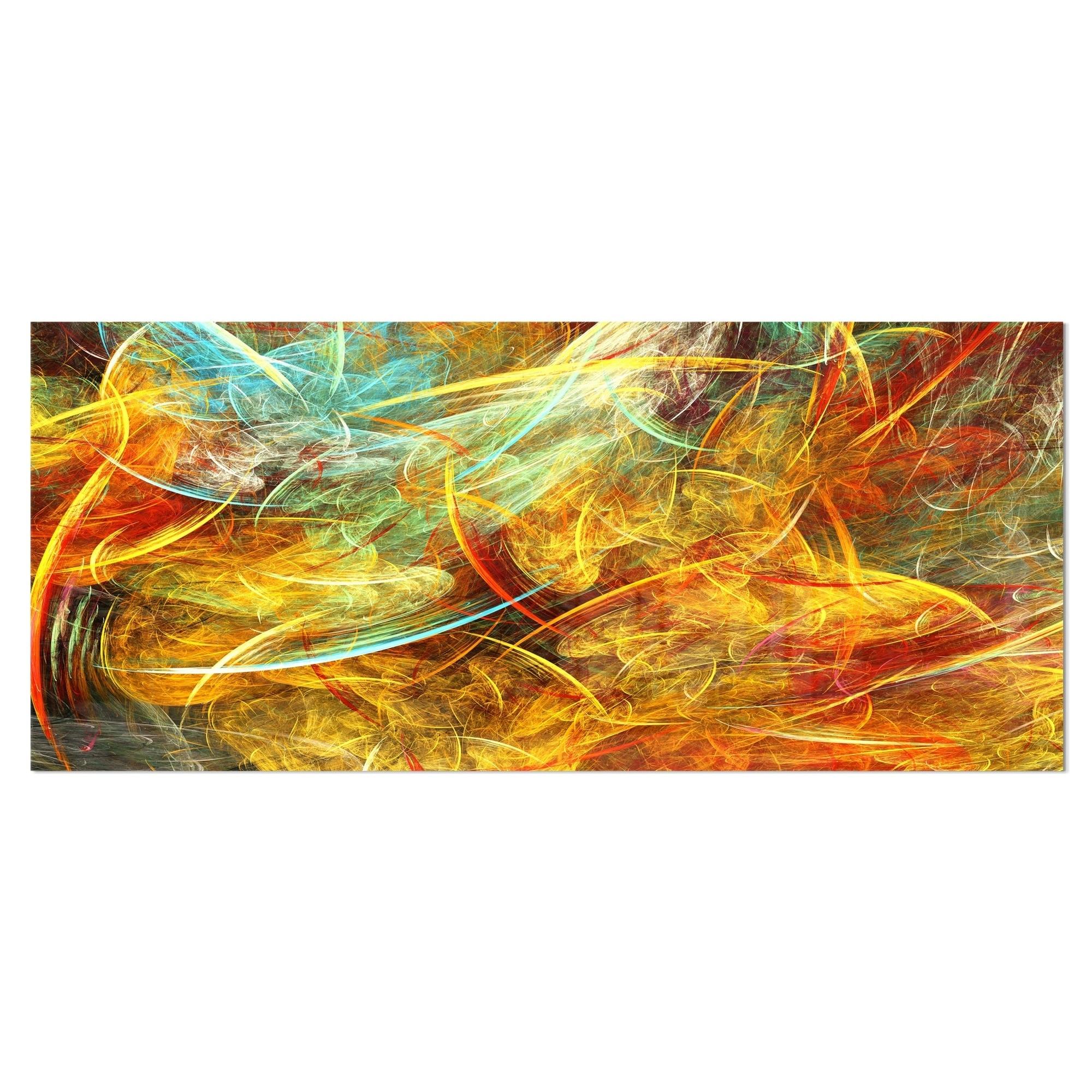 Designart \'Yellow Swirling Clouds\' Abstract Digital Art Metal Wall ...