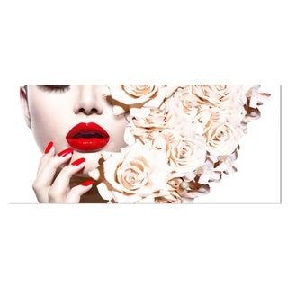 Designart 'Fashion Sexy Woman with Flowers' Portrait Sensual Metal Wall Art