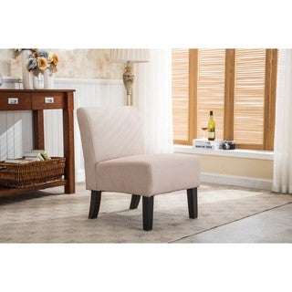 Samantha Beige Fabric, Wood Armless Slipper Chair - Thumbnail 0