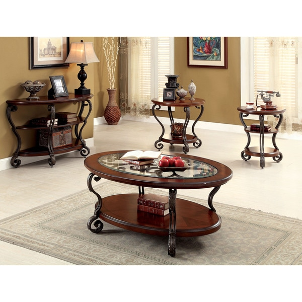 Furniture Of America Cohler Elegant 4 Piece Brown Cherry Accent Table Set