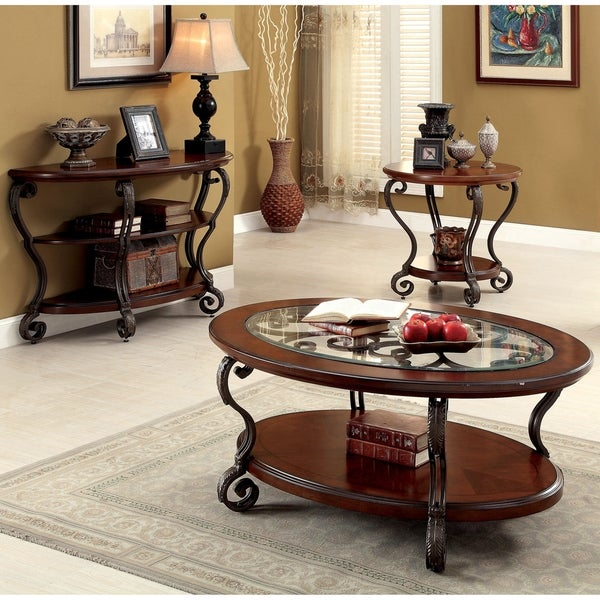 Furniture of America Cohler Elegant 3-piece Brown Cherry Accent Table Set