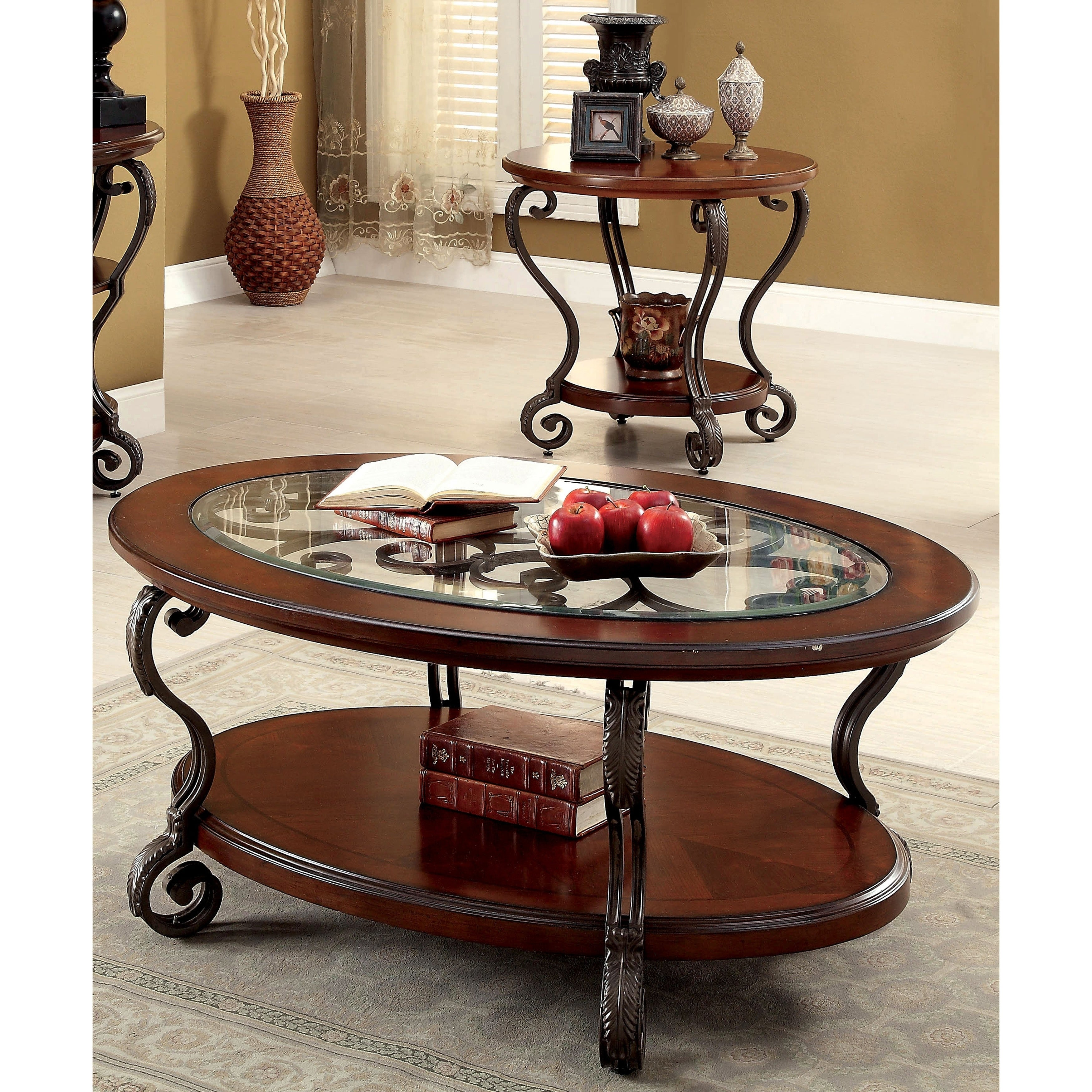 Enjoyable Cohler Traditional Brown Cherry 2 Piece Coffee Table Set By Foa Caraccident5 Cool Chair Designs And Ideas Caraccident5Info