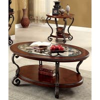 Furniture of America Cohler Elegant 2-piece Brown Cherry Accent Table Set