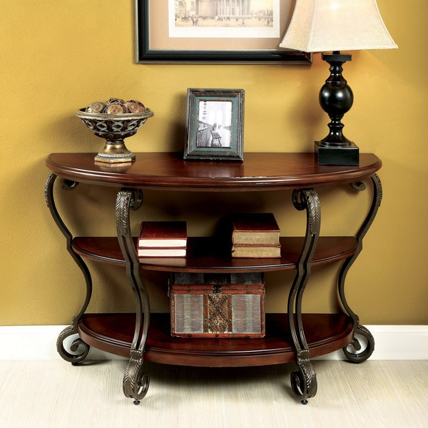 Bon Furniture Of America Cohler Brown Cherry Finished Wood/Metal Elegant Half  Moon Sofa