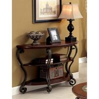 Furniture of America Cohler Brown cherry-finished Wood/Metal Elegant Half-moon Sofa Table