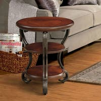Furniture of America Cohler Elegant Brown Cherry Round Side Table