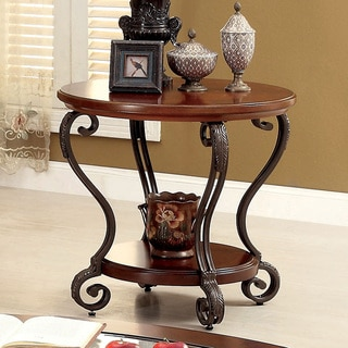 Furniture of America Cohler Elegant Glass Top Round End Table