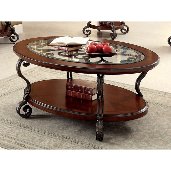 Furniture Of America Cohler Elegant Glass Top Cherry Brown Oval Coffee Table