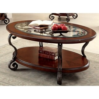 Furniture of America Cohler Elegant Glass Top Oval Coffee Table