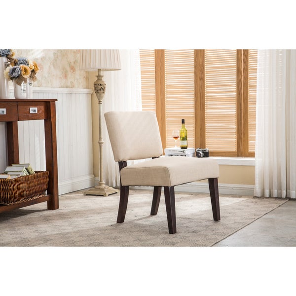 AC Pacific Sammy Beige Upholstered Wood Padded Armless Side Chair