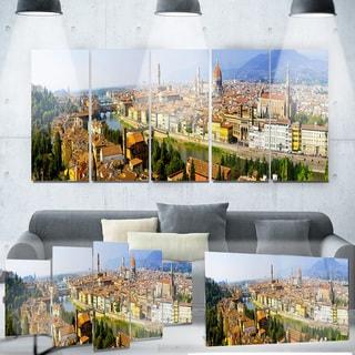 Designart 'Florence Panoramic View' Cityscape Photo Metal Wall Art
