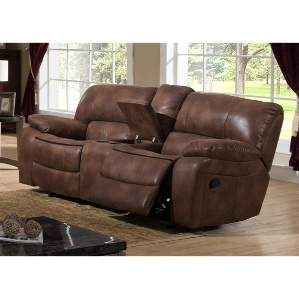 B751 Transitional Reclining Sectional With Storage Console: Shop Leighton Brown Transitional Reclining Loveseat With