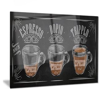 Designart 'Espresso Kraf Black' Poster Metal Wall Art