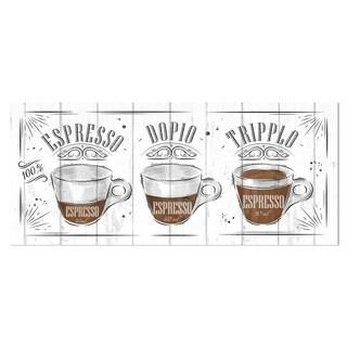 Designart 'Espresso Kraf Grey' Poster Metal Wall Art