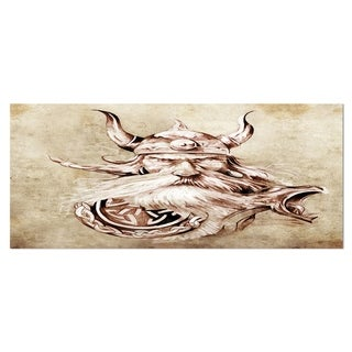 Designart 'Viking Warrior Tattoo Sketch' Portrait Digital Art Metal Wall Art
