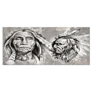 Designart 'Native American Indian Heads' Portrait Digital Art Metal Wall Art
