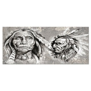 Designart 'Native American Indian Heads' Portrait Digital Art Metal Wall Art (3 options available)