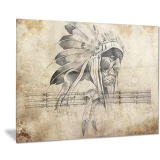 Designart 'American Indian Warrior Tattoo Sketch' Digital Art Metal Wall Art