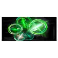 Designart 'Green in Black Fractal Desktop Wallpaper' Abstract Digital Metal Wall Art