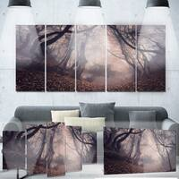 Designart 'Vintage Foggy Forest Trees' Landscape Photo Metal Wall Art