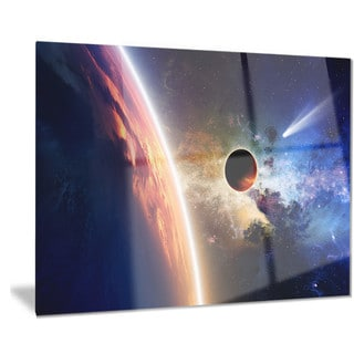 Designart 'Planet and Comet in Space' Modern Spacescape Metal Wall Art