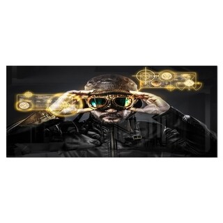 Designart 'Fighter Pilot with Hat and Glasses' Portrait Digital Art Metal Wall Art