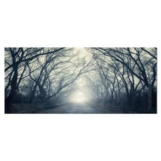 Designart 'Dark Autumn Forest in Fog' Modern Photography Metal Wall Art