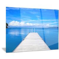 Designart 'Large Wooden Pier' Seascape Photo Metal Wall Art