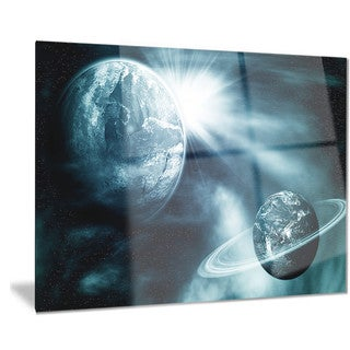 Designart 'Space View with Two Planets' Modern Spacescape Metal Wall Art