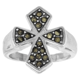 Haven Park Sterling Silver and Marcasite Cross Ring