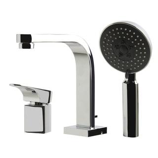 ALFI Brand Polished Chrome Tub Filler and Round Handheld Shower Head