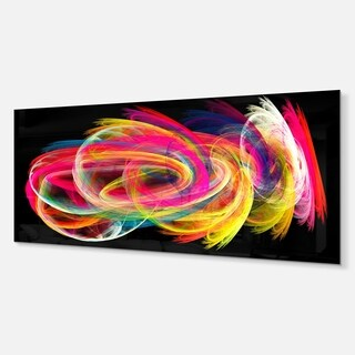 Designart 'Colorful Thick Strokes in Black' Abstract Digital Metal Wall Art