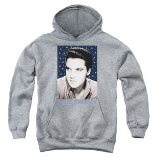 Elvis/Blue Sparkle Youth Pull-Over Hoodie in Heather