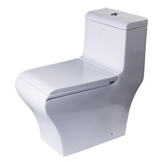 EAGO TB356 White Porcelain Dual Flush One Piece Eco-Friendly High Efficiency Low Flush Toilet