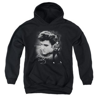 Elvis/Sweater Youth Pull-Over Hoodie in Black