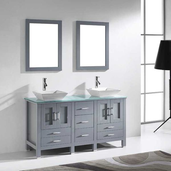 virtu usa bradford 60 inch double bathroom vanity cabinet set in grey