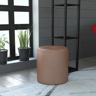 K&B 3215-BL Round Upholstered Stool Ottoman
