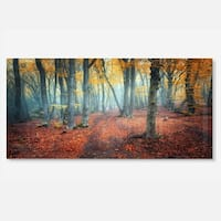 Designart 'Red and Yellow Autumn Forest' Landscape Photo Metal Wall Art
