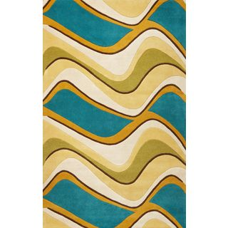 "Eternity 1098 Lime/Teal Waves (27"" x 45"") Rug"