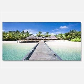 Designart 'Beach with Coconut Palm Trees' Landscape Photo Metal Wall Art