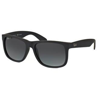 Ray-Ban RB 4165 622/T3 Justin Black Rubber Plastic Rectangle Grey Gradient Polarized Lens Sunglasses