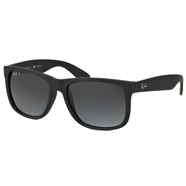 Shop Ray Ban Rb 4165 622 T3 Justin Black Rubber Plastic