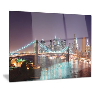 Designart 'Hudson River Panoramic View' Landscape Photo Metal Wall Art