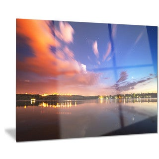 Designart 'Delighted Reflection in River' Landscape Photo Metal Wall Art