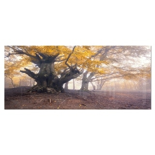 Designart 'Dark Tree with Yellow Leaves' Landscape Photo Metal Wall Art