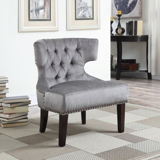 Katherine Grey Wood Contemporary Tufted Armless Slipper Accent Chair