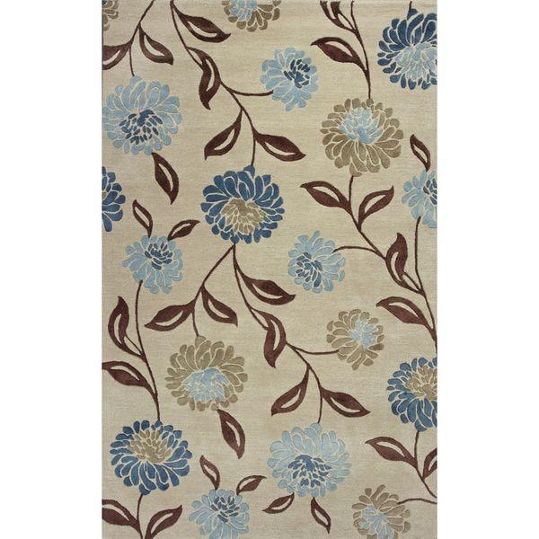 """Florence 4579 Beige/Blue Springtime (2'3"""" x 7'6"""") Runner Rug"""